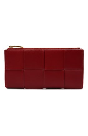 Женские кожаный кошелек BOTTEGA VENETA красного цвета, арт. 681011/VCQC1   Фото 1