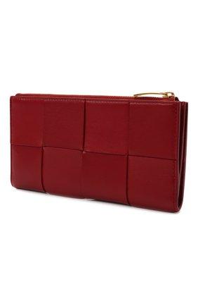 Женские кожаный кошелек BOTTEGA VENETA красного цвета, арт. 681011/VCQC1   Фото 2