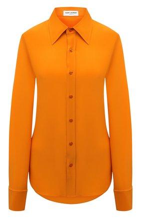 Женская шелковая рубашка SAINT LAURENT оранжевого цвета, арт. 679108/Y100W   Фото 1 (Материал внешний: Шелк; Длина (для топов): Стандартные; Рукава: Длинные; Стили: Гламурный; Женское Кросс-КТ: Рубашка-одежда)