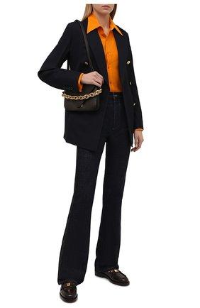 Женская шелковая рубашка SAINT LAURENT оранжевого цвета, арт. 679108/Y100W   Фото 2 (Материал внешний: Шелк; Длина (для топов): Стандартные; Рукава: Длинные; Стили: Гламурный; Женское Кросс-КТ: Рубашка-одежда)