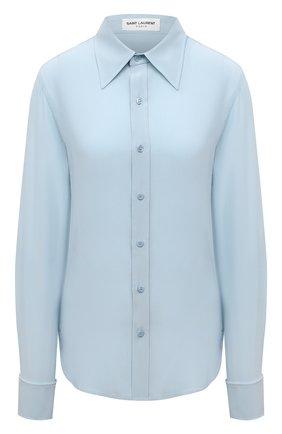 Женская шелковая рубашка SAINT LAURENT голубого цвета, арт. 679108/Y100W   Фото 1 (Материал внешний: Шелк; Длина (для топов): Стандартные; Рукава: Длинные; Стили: Гламурный; Женское Кросс-КТ: Рубашка-одежда)