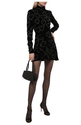 Женское платье SAINT LAURENT черного цвета, арт. 664002/Y525R   Фото 2 (Материал подклада: Шелк; Материал внешний: Купро, Вискоза; Рукава: Длинные; Длина Ж (юбки, платья, шорты): Мини; Стили: Гламурный; Случай: Вечерний; Женское Кросс-КТ: Платье-одежда)