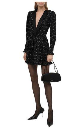 Женское шелковое платье SAINT LAURENT черно-белого цвета, арт. 646021/Y6C77   Фото 2 (Длина Ж (юбки, платья, шорты): Мини; Материал внешний: Шелк; Рукава: Длинные; Стили: Гламурный; Случай: Вечерний; Женское Кросс-КТ: Платье-одежда)