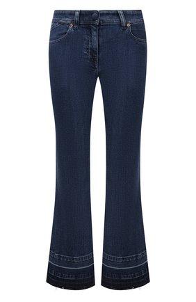 Женские джинсы VERSACE синего цвета, арт. 1002130/1A01652   Фото 1 (Длина (брюки, джинсы): Стандартные; Материал внешний: Хлопок; Стили: Гламурный; Кросс-КТ: Деним; Силуэт Ж (брюки и джинсы): Расклешенные)