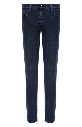 Мужские джинсы ZILLI синего цвета, арт. MCW-00061-DBLU1/S001   Фото 1 (Длина (брюки, джинсы): Стандартные; Материал внешний: Хлопок; Кросс-КТ: Деним; Стили: Кэжуэл; Силуэт М (брюки): Прямые)