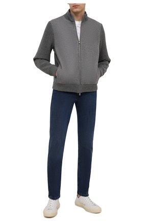 Мужские джинсы ZILLI синего цвета, арт. MCW-00061-DBLU1/S001   Фото 2 (Длина (брюки, джинсы): Стандартные; Материал внешний: Хлопок; Кросс-КТ: Деним; Стили: Кэжуэл; Силуэт М (брюки): Прямые)