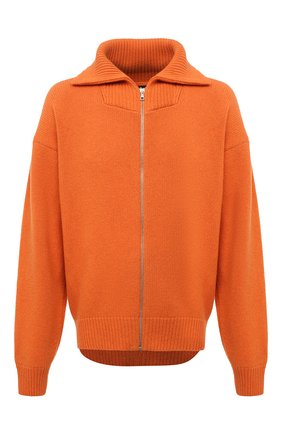 Мужской шерстяной кардиган PALM ANGELS оранжевого цвета, арт. PMHA044F21KNI0016637 | Фото 1 (Материал внешний: Шерсть; Длина (для топов): Удлиненные; Рукава: Длинные; Мужское Кросс-КТ: Кардиган-одежда; Стили: Гранж; Shop in Shop M: Свитеры)