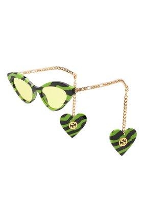Женские солнцезащитные очки GUCCI зеленого цвета, арт. GG0978S 006 | Фото 1 (Тип очков: С/з; Очки форма: Cat-eye)