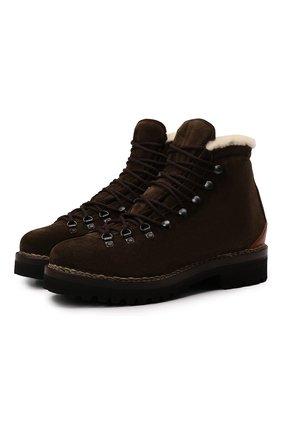 Мужские замшевые ботинки RALPH LAUREN темно-коричневого цвета, арт. 815811330 | Фото 1 (Подошва: Плоская; Мужское Кросс-КТ: Ботинки-обувь, зимние ботинки, Хайкеры-обувь; Материал утеплителя: Натуральный мех; Материал внутренний: Натуральная кожа; Материал внешний: Замша)