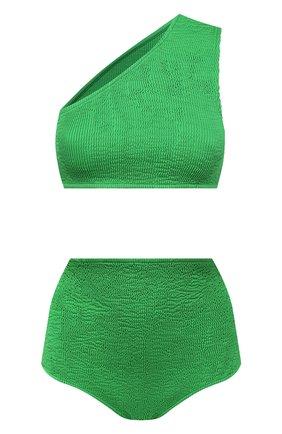 Женский раздельный купальник BOTTEGA VENETA зеленого цвета, арт. 625398/3V945 | Фото 1 (Материал внешний: Синтетический материал; Женское Кросс-КТ: Раздельные купальники; Длина Ж (юбки, платья, шорты): Мини)