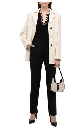 Женские шерстяные брюки JIL SANDER черного цвета, арт. JSWT305820-WT201000 | Фото 2 (Материал подклада: Вискоза; Материал внешний: Шерсть; Стили: Минимализм; Женское Кросс-КТ: Брюки-одежда; Силуэт Ж (брюки и джинсы): Прямые; Длина (брюки, джинсы): Удлиненные)