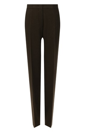 Женские шерстяные брюки JIL SANDER темно-коричневого цвета, арт. JSWT305820-WT20220L | Фото 1 (Материал подклада: Вискоза; Материал внешний: Шерсть; Длина (брюки, джинсы): Удлиненные; Стили: Минимализм; Женское Кросс-КТ: Брюки-одежда; Силуэт Ж (брюки и джинсы): Прямые)