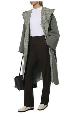 Женские шерстяные брюки JIL SANDER темно-коричневого цвета, арт. JSWT305820-WT20220L | Фото 2 (Материал подклада: Вискоза; Материал внешний: Шерсть; Длина (брюки, джинсы): Удлиненные; Стили: Минимализм; Женское Кросс-КТ: Брюки-одежда; Силуэт Ж (брюки и джинсы): Прямые)