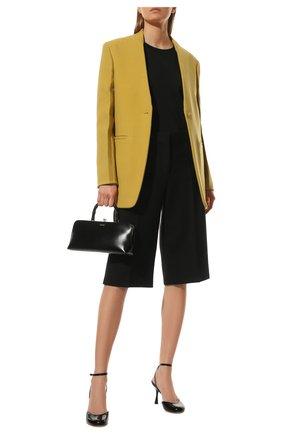 Женские шерстяные шорты JIL SANDER черного цвета, арт. JSWT306113-WT201000 | Фото 2 (Материал подклада: Вискоза; Материал внешний: Шерсть; Длина Ж (юбки, платья, шорты): Миди; Стили: Минимализм; Женское Кросс-КТ: Шорты-одежда)