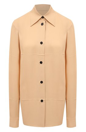 Женская рубашка из вискозы JIL SANDER бежевого цвета, арт. JSWT605306-WT381500 | Фото 1 (Длина (для топов): Удлиненные; Материал внешний: Вискоза; Рукава: Длинные; Стили: Минимализм; Принт: Без принта; Женское Кросс-КТ: Рубашка-одежда)
