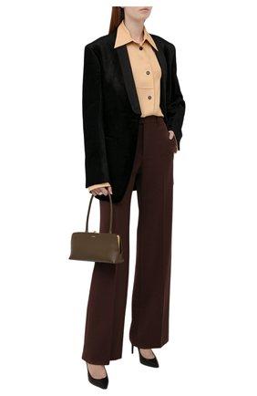 Женская рубашка из вискозы JIL SANDER бежевого цвета, арт. JSWT605306-WT381500 | Фото 2 (Длина (для топов): Удлиненные; Материал внешний: Вискоза; Рукава: Длинные; Стили: Минимализм; Принт: Без принта; Женское Кросс-КТ: Рубашка-одежда)