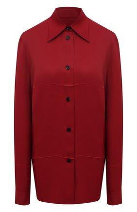 Женская рубашка из вискозы JIL SANDER бордового цвета, арт. JSWT605306-WT381500 | Фото 1 (Длина (для топов): Удлиненные; Рукава: Длинные; Материал внешний: Вискоза; Стили: Минимализм; Принт: Без принта; Женское Кросс-КТ: Рубашка-одежда)
