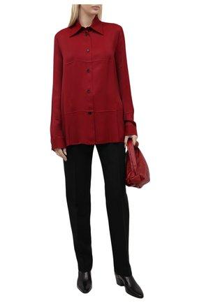 Женская рубашка из вискозы JIL SANDER бордового цвета, арт. JSWT605306-WT381500 | Фото 2 (Длина (для топов): Удлиненные; Рукава: Длинные; Материал внешний: Вискоза; Стили: Минимализм; Принт: Без принта; Женское Кросс-КТ: Рубашка-одежда)