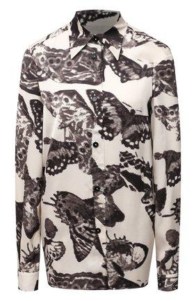 Женская рубашка из вискозы JIL SANDER черно-белого цвета, арт. JSWT606206-WT380430 | Фото 1 (Длина (для топов): Удлиненные; Рукава: Длинные; Материал внешний: Вискоза; Стили: Минимализм; Женское Кросс-КТ: Рубашка-одежда)