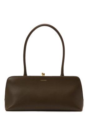 Женская сумка goji small JIL SANDER темно-коричневого цвета, арт. JSWT856460-WTB00111N | Фото 1 (Размер: small; Материал: Натуральная кожа; Сумки-технические: Сумки top-handle)