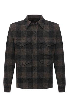 Мужская шерстяная рубашка RRL темно-серого цвета, арт. 782840969 | Фото 1 (Длина (для топов): Стандартные; Рукава: Длинные; Материал внешний: Шерсть; Случай: Повседневный; Манжеты: На кнопках; Воротник: Кент; Принт: Клетка; Стили: Кэжуэл)