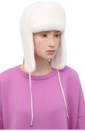 Женская шапка-ушанка из меха норки KUSSENKOVV белого цвета, арт. 091700001093   Фото 2 (Материал: Натуральный мех)