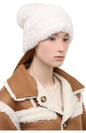 Женская шапка из меха норки KUSSENKOVV белого цвета, арт. 051750001202   Фото 2 (Материал: Натуральный мех)
