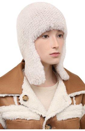 Женская шапка-ушанка из меха норки KUSSENKOVV кремвого цвета, арт. 091250012433 | Фото 2 (Материал: Натуральный мех)