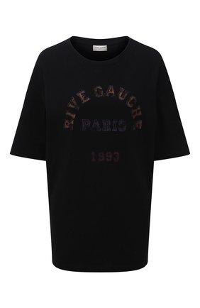 Женская хлопковая футболка SAINT LAURENT черного цвета, арт. 660735/Y36FQ   Фото 1 (Длина (для топов): Стандартные; Материал внешний: Хлопок; Рукава: Короткие; Стили: Спорт-шик; Принт: С принтом; Женское Кросс-КТ: Футболка-одежда)