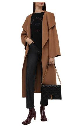 Женская хлопковая футболка SAINT LAURENT черного цвета, арт. 660735/Y36FQ   Фото 2 (Длина (для топов): Стандартные; Материал внешний: Хлопок; Рукава: Короткие; Стили: Спорт-шик; Принт: С принтом; Женское Кросс-КТ: Футболка-одежда)