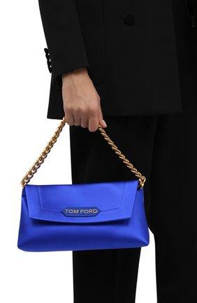 Женская сумка label small TOM FORD синего цвета, арт. L1504T-TSA005 | Фото 2 (Материал: Текстиль; Сумки-технические: Сумки top-handle; Размер: small)
