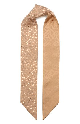 Женский шелковый шарф-бандо BURBERRY бежевого цвета, арт. 8045965   Фото 1 (Материал: Текстиль, Шелк)