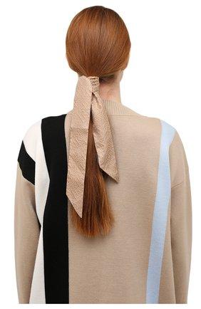 Женский шелковый шарф-бандо BURBERRY бежевого цвета, арт. 8045965   Фото 2 (Материал: Текстиль, Шелк)