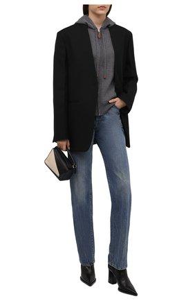 Женский кардиган из кашемира и хлопка BURBERRY темно-серого цвета, арт. 8044739 | Фото 2 (Материал внешний: Хлопок, Шерсть, Кашемир; Длина (для топов): Стандартные; Рукава: Длинные; Стили: Кэжуэл; Женское Кросс-КТ: Кардиган-одежда)