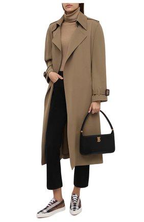 Женские текстильные кеды BURBERRY коричневого цвета, арт. 8042137 | Фото 2 (Подошва: Платформа; Материал внутренний: Натуральная кожа; Материал внешний: Текстиль)