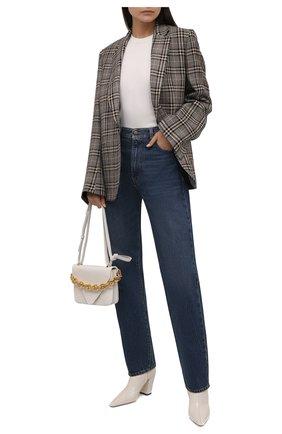 Женские кожаные ботильоны zadie 85 JIMMY CHOO кремвого цвета, арт. ZADIE 85/NAK | Фото 2 (Материал внутренний: Натуральная кожа; Каблук тип: Устойчивый; Каблук высота: Высокий; Подошва: Плоская)