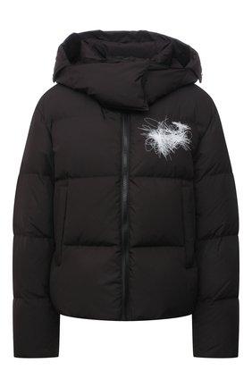 Женская пуховая куртка OFF-WHITE черного цвета, арт. 0WED001F21FAB002 | Фото 1 (Материал подклада: Синтетический материал; Длина (верхняя одежда): Короткие; Рукава: Длинные; Материал внешний: Синтетический материал; Материал утеплителя: Пух и перо; Стили: Спорт-шик; Кросс-КТ: Куртка)