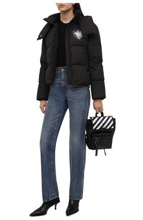 Женская пуховая куртка OFF-WHITE черного цвета, арт. 0WED001F21FAB002 | Фото 2 (Материал подклада: Синтетический материал; Длина (верхняя одежда): Короткие; Рукава: Длинные; Материал внешний: Синтетический материал; Материал утеплителя: Пух и перо; Стили: Спорт-шик; Кросс-КТ: Куртка)