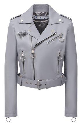 Женская кожаная куртка OFF-WHITE серого цвета, арт. 0WJG002F21LEA001 | Фото 1 (Материал подклада: Вискоза; Стили: Гламурный; Женское Кросс-КТ: Замша и кожа; Кросс-КТ: Куртка; Рукава: Длинные; Длина (верхняя одежда): Короткие)