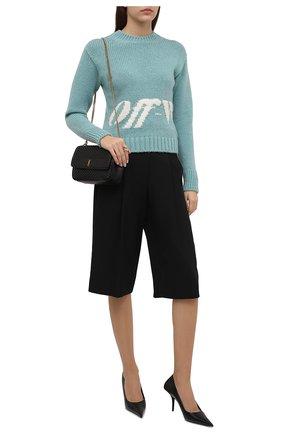 Женский свитер OFF-WHITE голубого цвета, арт. 0WHE058F21KNI001 | Фото 2 (Материал внешний: Шерсть, Синтетический материал; Рукава: Длинные; Длина (для топов): Стандартные; Стили: Кэжуэл; Женское Кросс-КТ: Свитер-одежда)