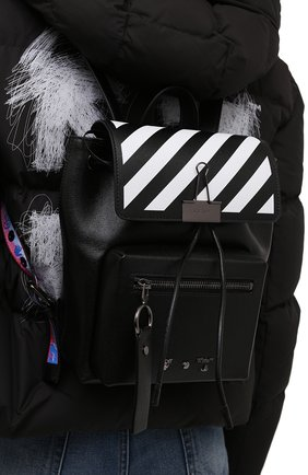 Женский рюкзак OFF-WHITE черного цвета, арт. 0WNB007F21LEA001   Фото 2 (Материал: Натуральная кожа; Размер: medium; Стили: Кэжуэл)