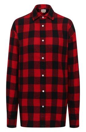 Женская хлопковая рубашка POLO RALPH LAUREN красного цвета, арт. 211846917   Фото 1 (Материал внешний: Хлопок; Длина (для топов): Удлиненные; Рукава: Длинные; Стили: Кэжуэл; Принт: С принтом; Женское Кросс-КТ: Рубашка-одежда)