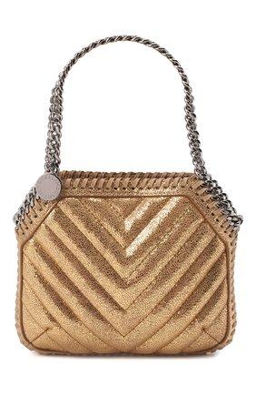 Женская сумка falabella mini STELLA MCCARTNEY золотого цвета, арт. 700109/W8866 | Фото 1 (Размер: mini; Материал: Текстиль; Ремень/цепочка: На ремешке; Сумки-технические: Сумки top-handle)