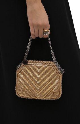 Женская сумка falabella mini STELLA MCCARTNEY золотого цвета, арт. 700109/W8866 | Фото 2 (Размер: mini; Материал: Текстиль; Ремень/цепочка: На ремешке; Сумки-технические: Сумки top-handle)