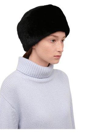 Женская шапка-кубанка из меха норки KUSSENKOVV черного цвета, арт. 062800002455   Фото 2 (Материал: Натуральный мех)