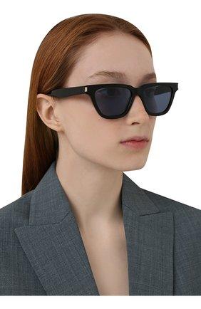 Женские солнцезащитные очки SAINT LAURENT черного цвета, арт. SL 462 SULPICE 010   Фото 2 (Тип очков: С/з; Оптика Гендер: оптика-унисекс; Очки форма: Квадратные)