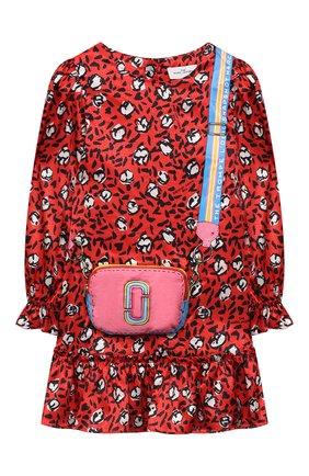 Детское платье MARC JACOBS (THE) красного цвета, арт. W12390   Фото 1 (Материал внешний: Синтетический материал; Рукава: Длинные; Девочки Кросс-КТ: Платье-одежда; Случай: Повседневный)