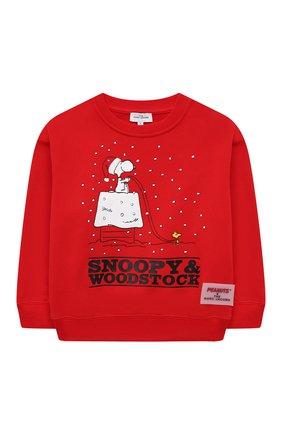Детский хлопковый свитшот MARC JACOBS (THE) красного цвета, арт. W15576   Фото 1 (Рукава: Длинные; Материал внешний: Хлопок; Девочки Кросс-КТ: Толстовка-одежда)