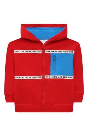 Детский хлопковая толстовка MARC JACOBS (THE) красного цвета, арт. W25501   Фото 1 (Рукава: Длинные; Материал внешний: Хлопок; Мальчики Кросс-КТ: Толстовка-одежда)