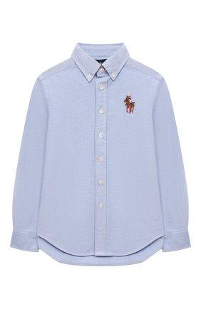 Детская хлопковая рубашка RALPH LAUREN голубого цвета, арт. 323850930 | Фото 1 (Материал внешний: Хлопок; Рукава: Длинные; Случай: Повседневный)
